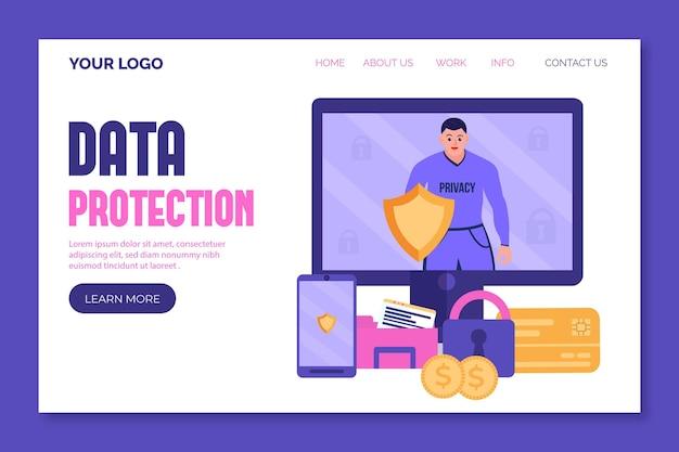 Page de destination de la cyberprotection des données