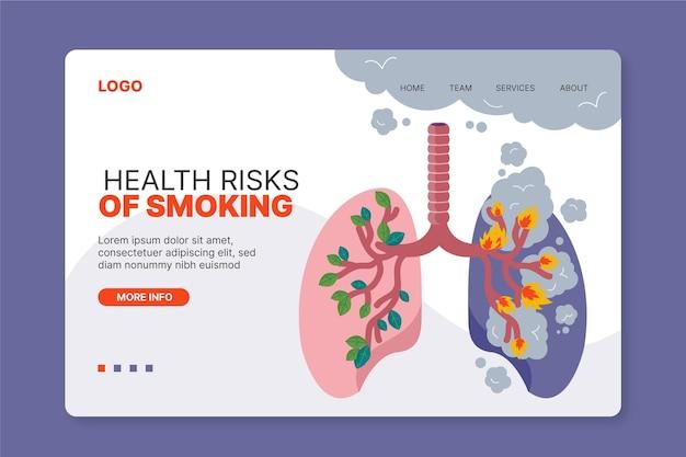 Page de destination sur le danger de fumer
