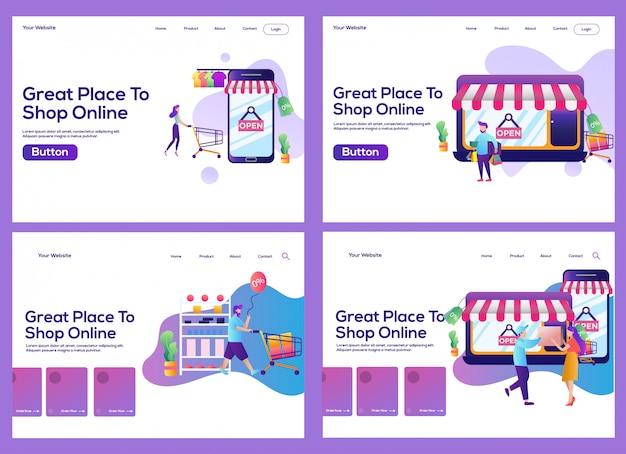 Page de destination définie. concept de boutique en ligne