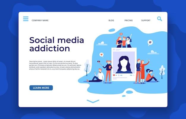 Page De Destination De La Dépendance Aux Médias Sociaux Vecteur Premium