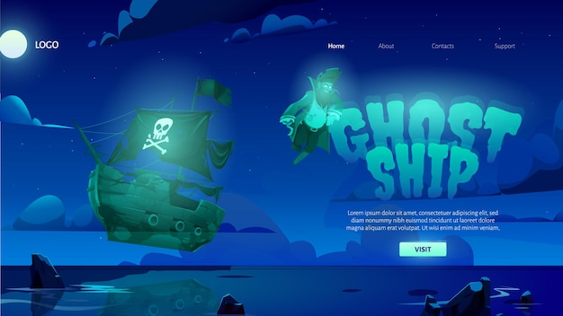 Page de destination de dessin animé de bateau fantôme