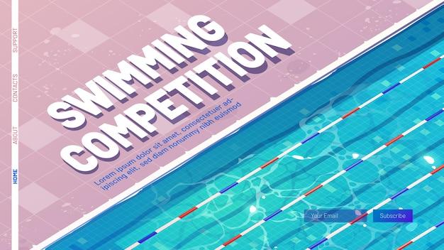 Page de destination de dessin animé de compétition de natation