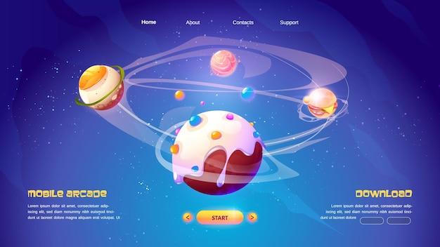 Page de destination de dessin animé de jeu d'aventure de planètes alimentaires d'arcade mobile