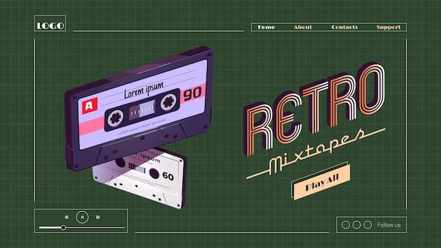 Page de destination de dessin animé de mixtapes rétro