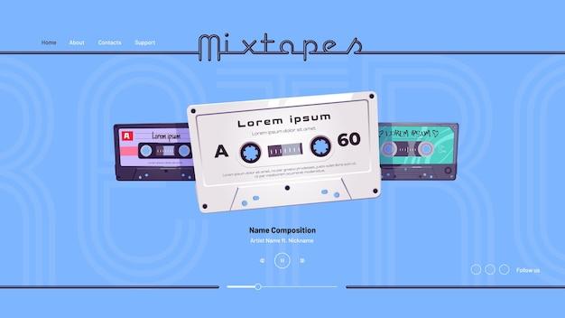 Page de destination de dessin animé de mixtapes