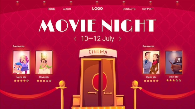 Page de destination de dessin animé de nuit de film