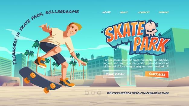 Page de destination de dessin animé de skate park avec adolescent