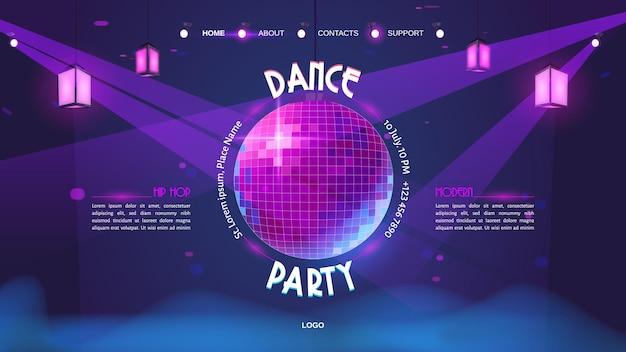 Page de destination de dessin animé de soirée dansante avec boule disco rougeoyante sur néon violet