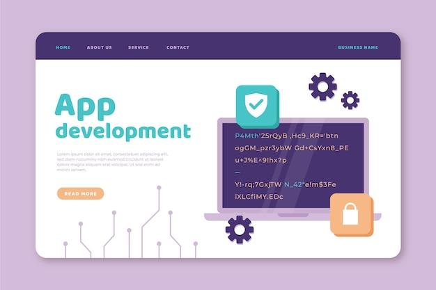 Page de destination de développement d'applications