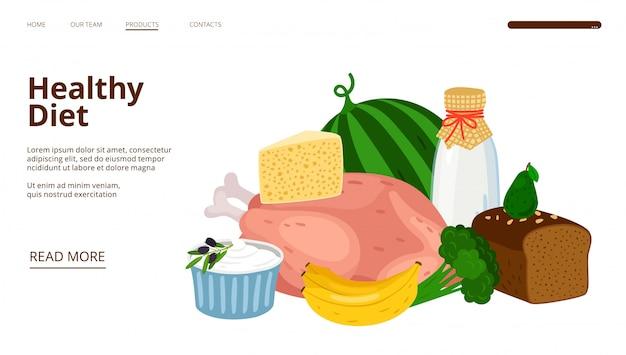 Page de destination de la diétologie. modèle web de régime alimentaire sain
