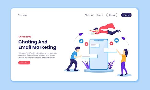 Page de destination de discussion et de marketing par e-mail