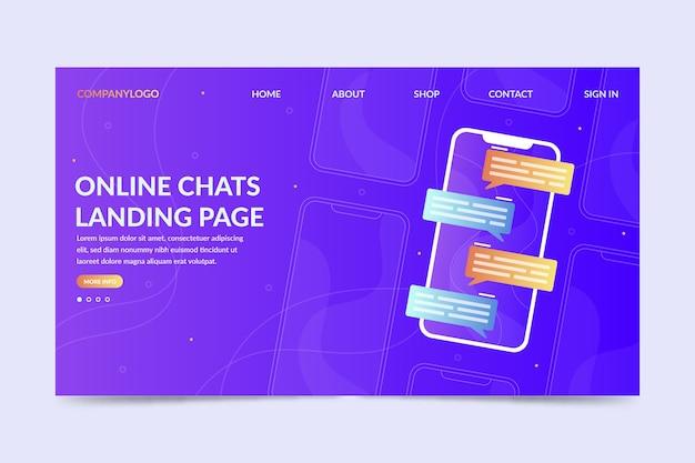 Page de destination des discussions en ligne avec des messages