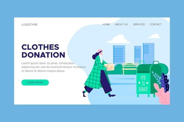 Page de destination de don de vêtements dessinés à la main