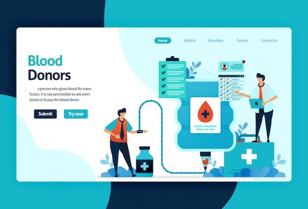 Page de destination des donneurs de sang