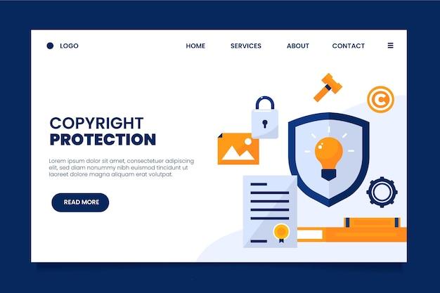 Page de destination des droits d'auteur avec bouclier