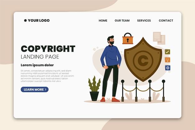 Page de destination des droits d'auteur de l'homme