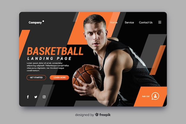 Page de destination du basketball sportif