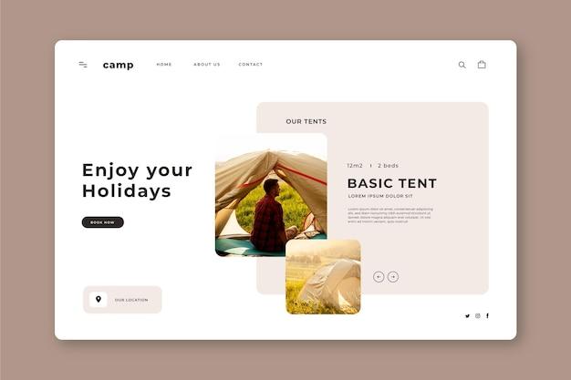Page de destination du camping avec photos