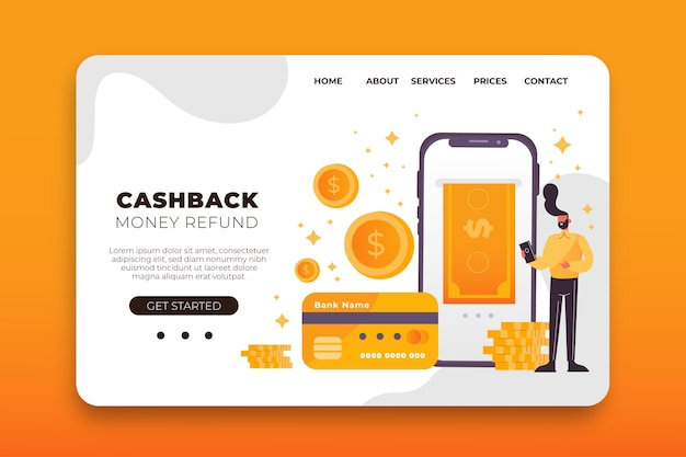 Page de destination du cashback illustrée