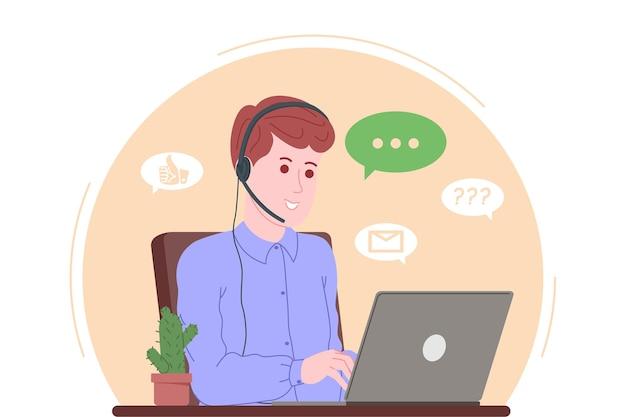 Page de destination du centre d'appels, du service client, de l'assistance et de l'assistance. opérateur de ligne directe avec casques et ordinateur portable. concept de télémarketing et de consultation. illustration vectorielle de dessin animé.
