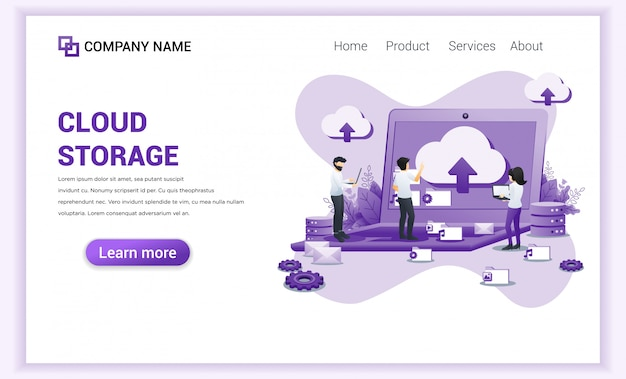 Page de destination du centre de données cloud computing