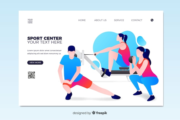 Page de destination du centre sportif