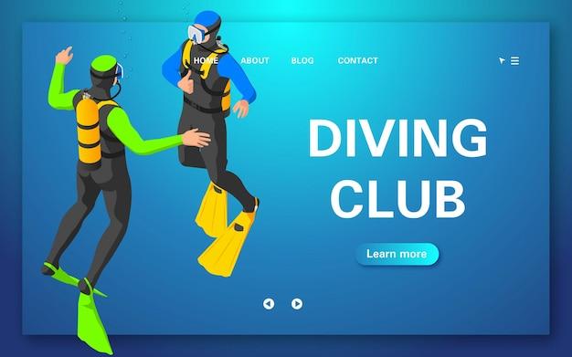 Page de destination du club de plongée