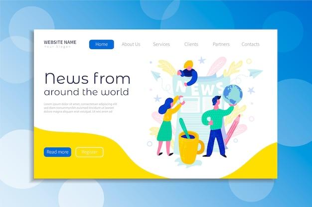 Page de destination du concept d'actualités