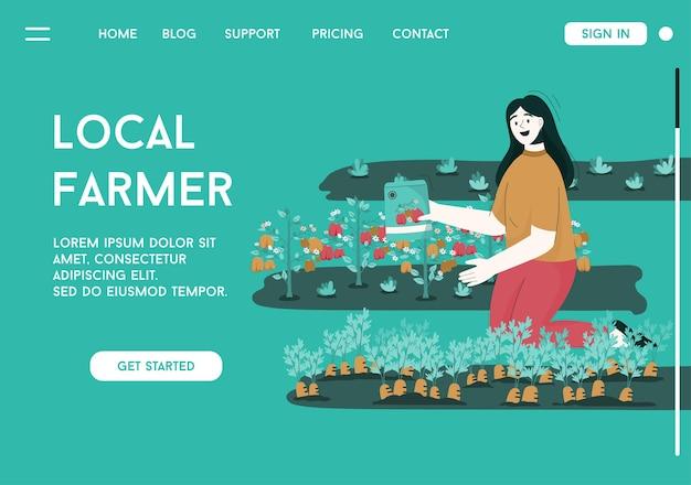 Page De Destination Du Concept D'agriculteur Local Vecteur Premium