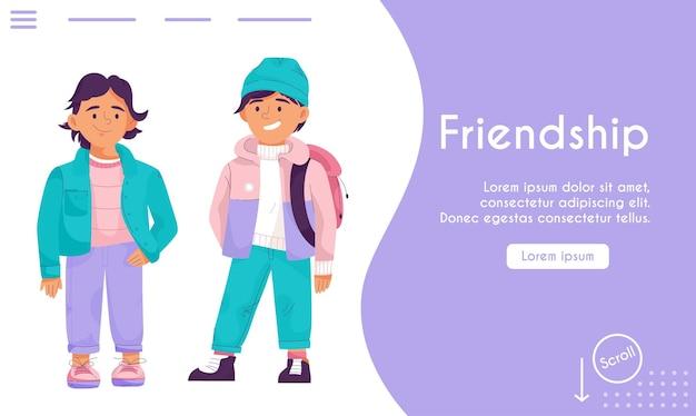Page de destination du concept d'amitié amis ou frères