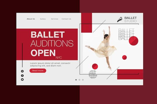 Page de destination du concept de ballet