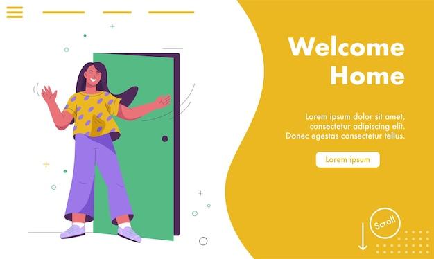 Page de destination du concept de bienvenue à la maison