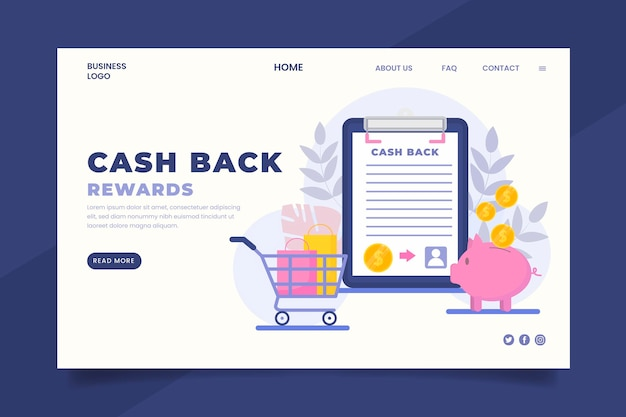 Page de destination du concept de cashback avec illustrations