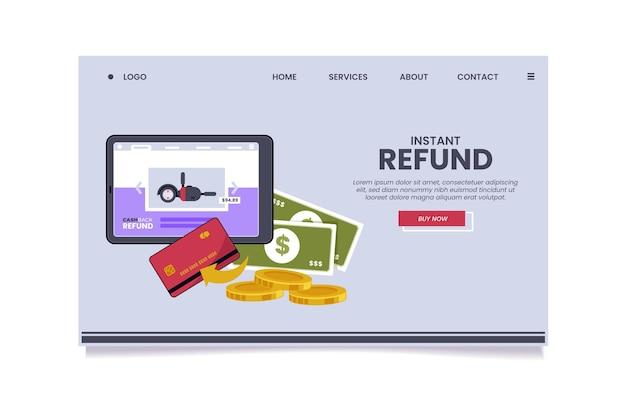 Page de destination du concept de cashback illustrée