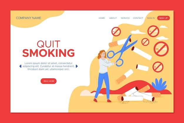 Page de destination du concept de cesser de fumer