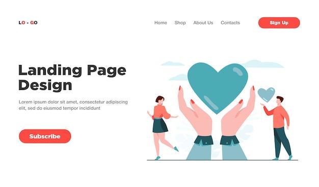 Page de destination du concept de charité et de don