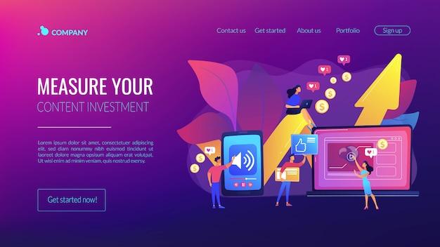 Page de destination du concept de contenu à haut retour sur investissement