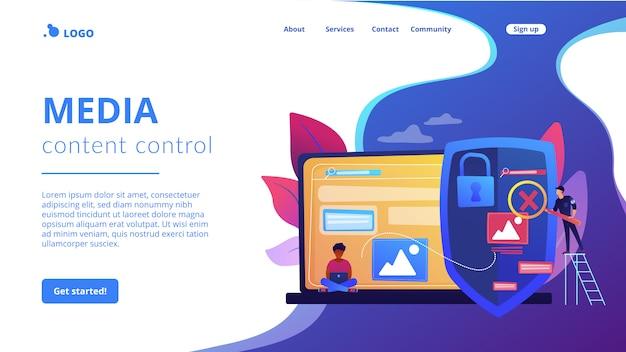 Page de destination du concept de contrôle du contenu multimédia