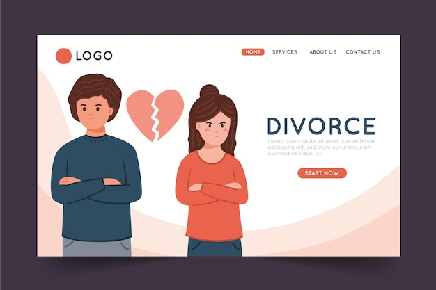 Page de destination du concept de divorce