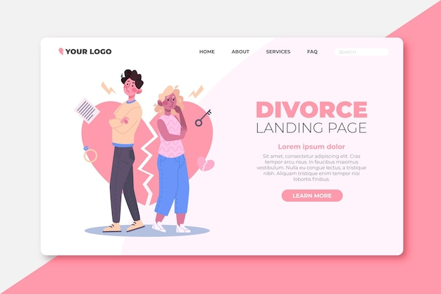 Page de destination du concept de divorce