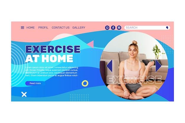 Page de destination du concept d'exercice à domicile