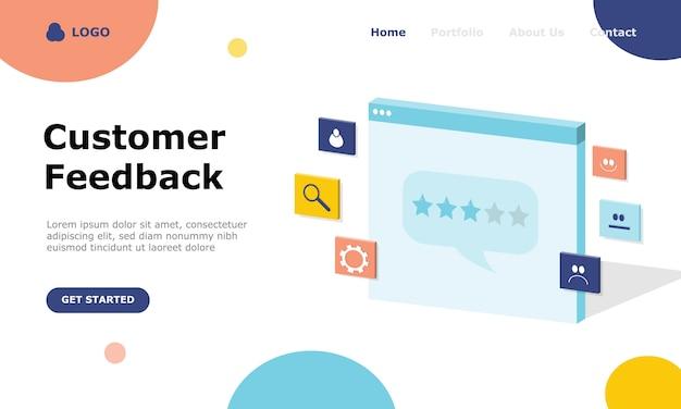 Page de destination du concept d'illustration des commentaires des clients