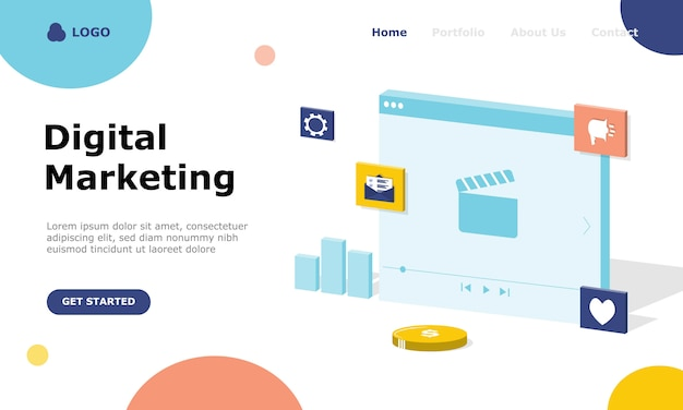 Page de destination du concept d & # 39; illustration de stratégie de marketing numérique