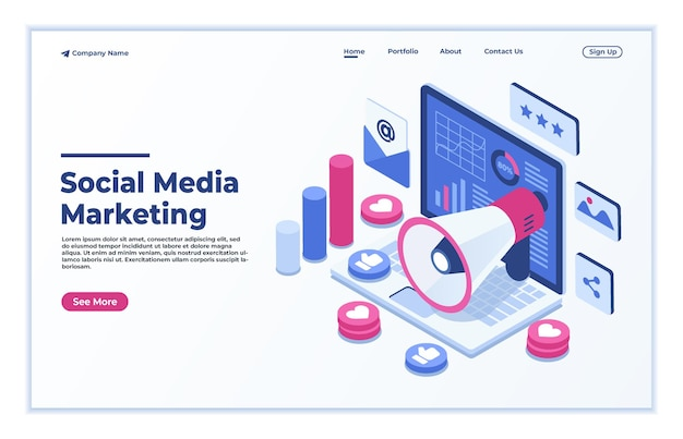 Page de destination du concept isométrique du marketing des médias sociaux en ligne