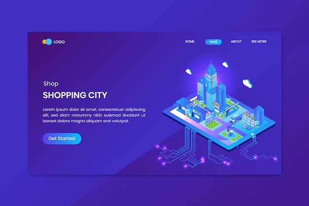 Page de destination du concept isométrique de la ville de shopping