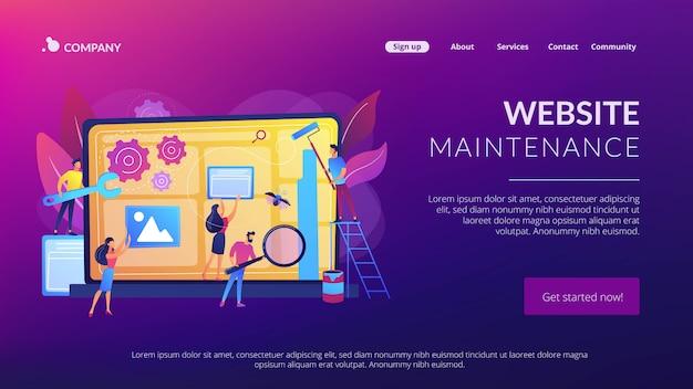 Page de destination du concept de maintenance du site web
