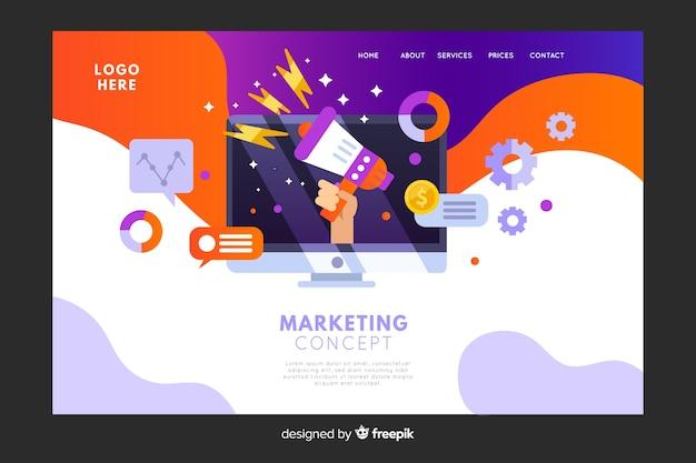Page de destination du concept marketing