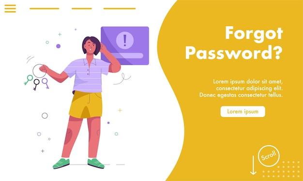Page de destination du concept de mot de passe oublié