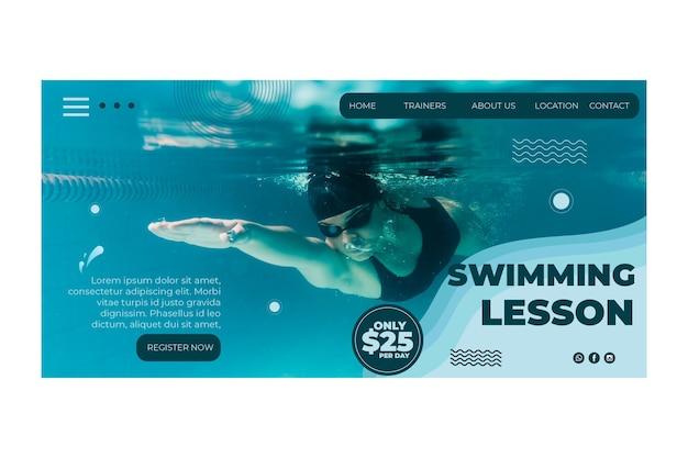 Page de destination du concept de natation