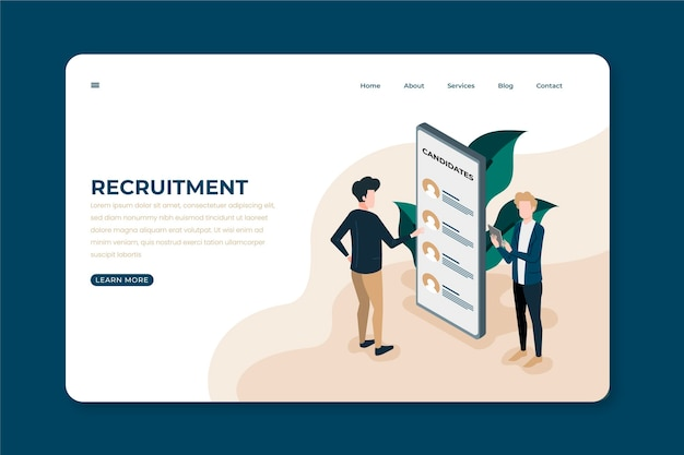 Page de destination du concept de recrutement